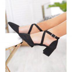 Siyah Süet Çapraz Bantlı Topuklu Ayakkabı