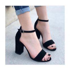 Siyah Süet Tek Bant Topuklu Ayakkabı Çift