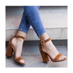 Taba Süet Tek Bant Topuklu Ayakkabı