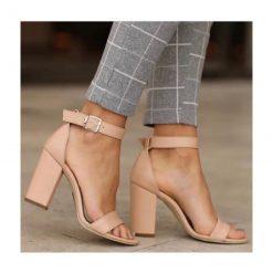 Ten Deri Tek Bant Topuklu Ayakkabı