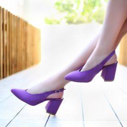 Mor 7 cm Kalın Topuklu Ayakkabı