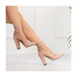 Pudra Kalın Uzun Topuklu Ayakkabı Süet Ra-040