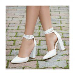 Beyaz Kalın Uzun Topuklu Ayakkabı Deri