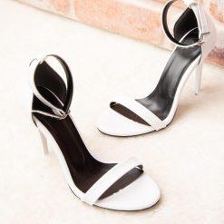 Beyaz Tek Bant İnce Topuk Ayakkabı Deri Ra-055
