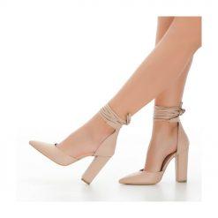 Ten Kalın Uzun Topuklu Ayakkabı Deri Ra-040