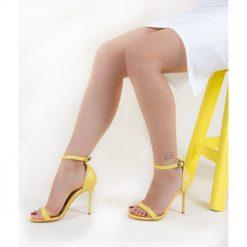 Sarı Tek Bant İnce Topuk Ayakkabı Deri Ra-055