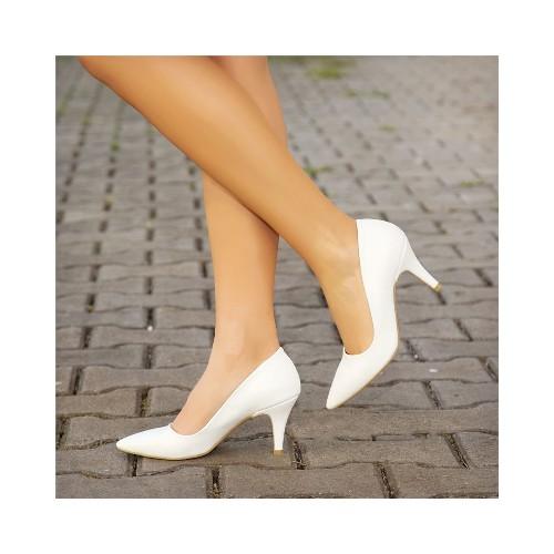 Beyaz İnce Topuklu Ayakkabı Deri Ma-017