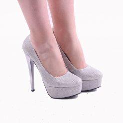 Gümüş Platform Yüksek Topuklu Ayakkabı Ma-008