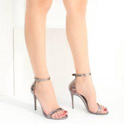 Platin İnce Bantlı Topuklu Ayakkabı Ra-086