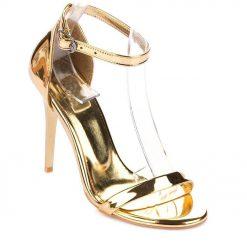 Altın İnce Bantlı Topuklu Ayakkabı Ra-086