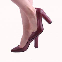 Bordo Yüksek Topuklu Ayakkabı Deri Ma-023
