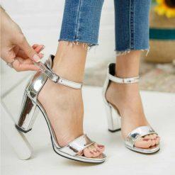 Gümüş Tek Bant Topuklu Ayakkabı Deri Ma-030