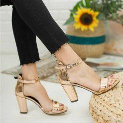 Rose Tek Bant Topuklu Ayakkabı Deri Ma-030