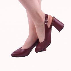 Bordo 7 cm Topuklu Ayakkabı Deri
