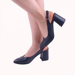 Lacivert 7 cm Topuklu Ayakkabı Deri