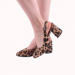 Leopar 7 cm Topuklu Ayakkabı Deri Ma-028