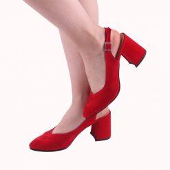 Kırmızı 7 cm Topuklu Ayakkabı Süet