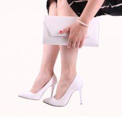 Beyaz Deri Ayakkabı Çanta Takım RC-021