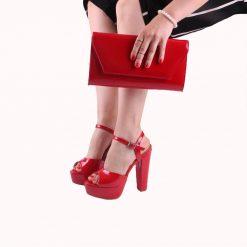 Kırmızı Ayakkabı Çanta Kombin Rugan RC-027