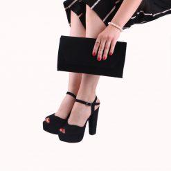 Süet Ayakkabı Çanta Kombin Siyah RC-027