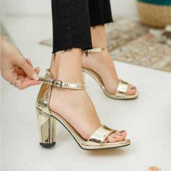 Altın Tek Bant Topuklu Ayakkabı Deri Ma-030