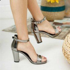 Platin Tek Bant Topuklu Ayakkabı Deri Ma-030