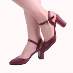 Bordo Kısa Topuklu Ayakkabı Ra-145