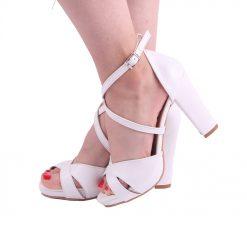 Beyaz Çapraz Bantlı Topuklu Ayakkabı Tek Bant Ra-136