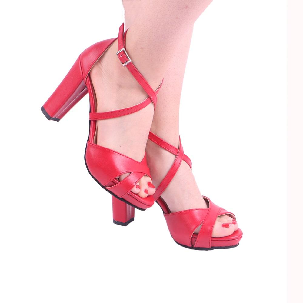 Kırmızı Çapraz Bantlı Topuklu Ayakkabı Tek Bant Ra-136