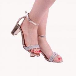Altın Bilek Bağlamalı Topuklu Ayakkabı Tek Bant Ra-137