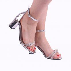 Gümüş Fiyonklu Topuklu Ayakkabı Tek Bant Ra-135