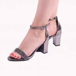 Platin Bilek Bağlamalı Topuklu Ayakkabı Tek Bant Ra-137