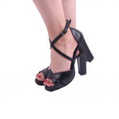 Siyah Çapraz Bantlı Topuklu Ayakkabı Tek Bant Ra-136