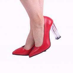 Kırmızı Şeffaf Topuklu Stiletto Ra-140